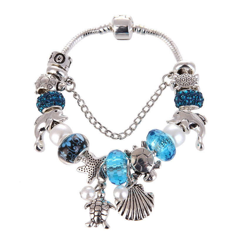 Silver plated Silver plated Blue crystal Beads Turtle Shell Pendant Charms Noble <font><b>Pan</b></font> <font><b>Bracelet</b></font> For Women/Gril gift jewelry image