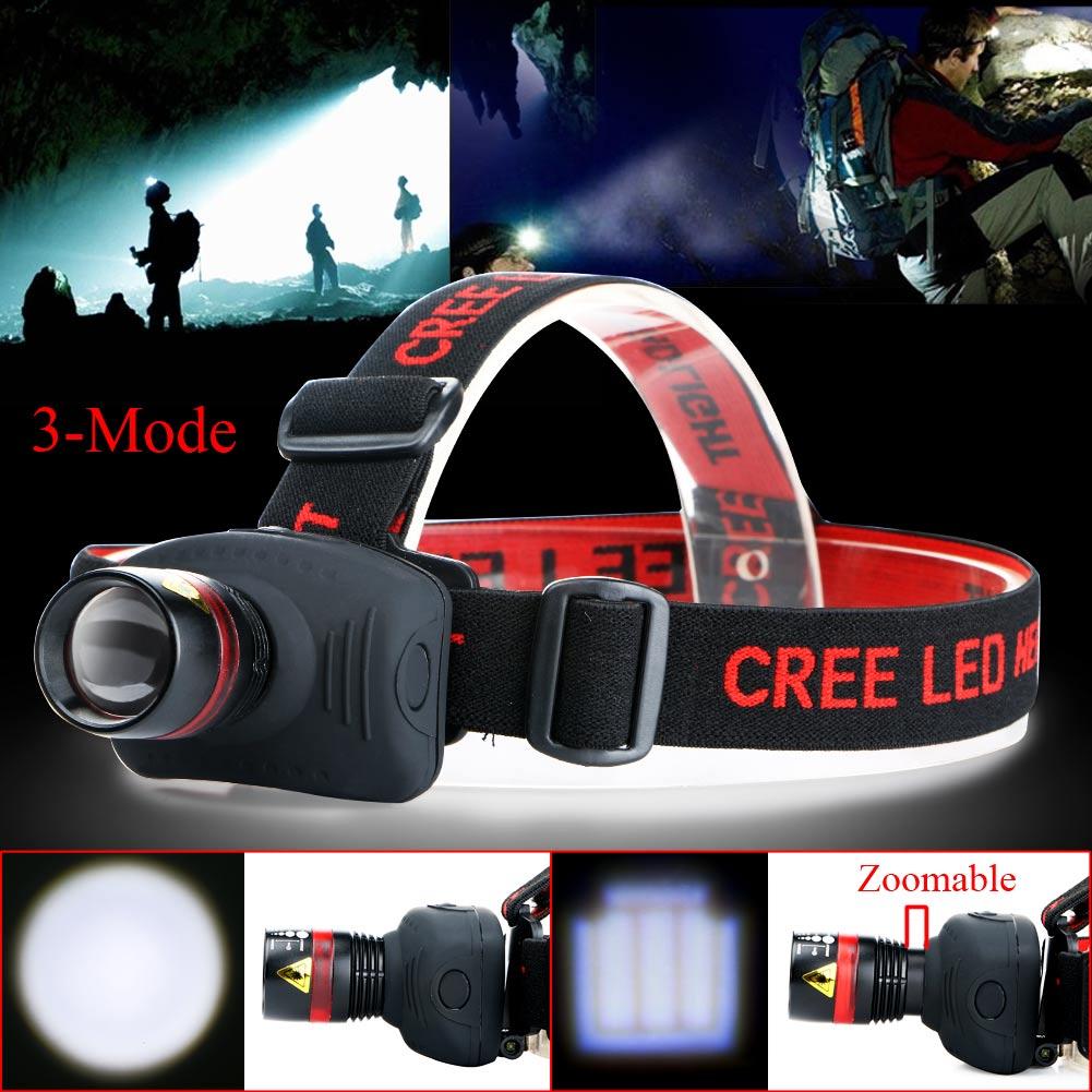 NEW Mini headlamp 1000 Lumens CREE Q5 LED Zoomable Adjustable Flashlight Head Torch Light lamp For
