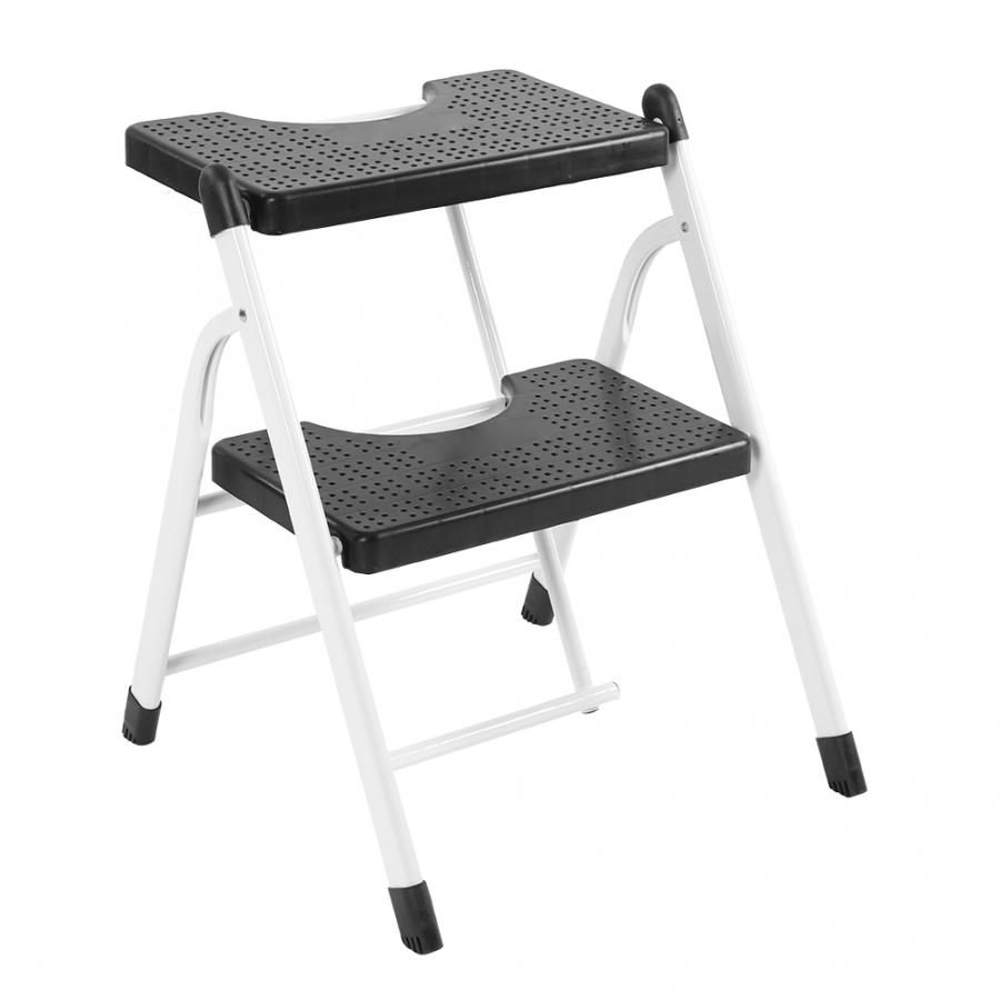 2 Step Heavy Duty Folding Ladder Mini Stool With Anti Slip Ribbed Steps Mini Folding Ladder