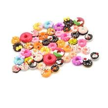 Phone-Case Dollhouse-Accessories Miniature Resin for Toys Random 10pcs Crafts Doughnut