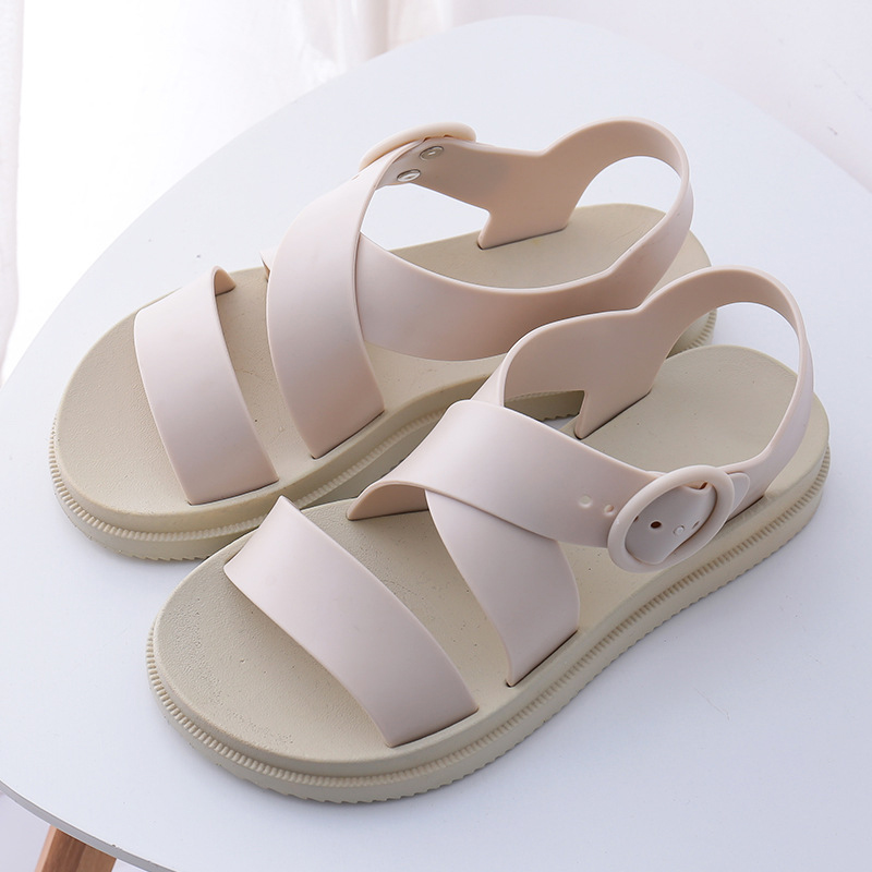 MCCKLE Flat Sandals Women Shoes Gladiator Open Toe Buckle Soft Jelly Sandals Female Casual Women's Flat Platform Beach Shoes
