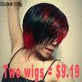 Короткие Цветные Волос Парики Для Чернокожих Женщин Короткие Ombre Красный парик Лучшие Синтетические Парики Для Чернокожих Женщин Афро-Американской Короткие парики
