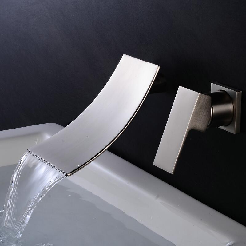 Basin Faucet Brass black/Nickel/Chrome In-wall Square Bathroom Sink Faucet 3 Hole Double Handle Hot And Cold Waterfall Taps