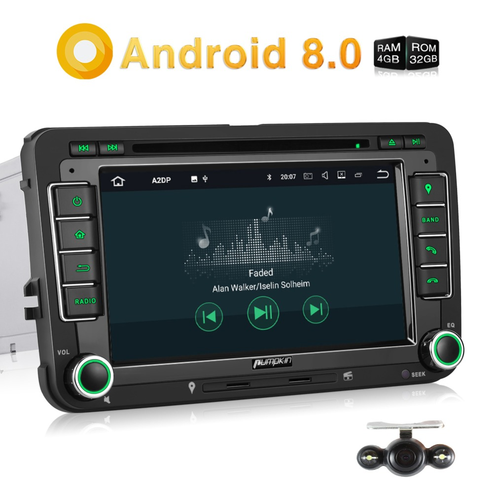 Pumpkin 2 Din 7'' Android 8.0 Car DVD Player GPS Navigation Car Stereo For VW/Skoda/Passat Qcta-core FM Radio Wifi USB Headunit car dvd gps android 8 1 player 2din radio universal wifi gps navigation audio for skoda octavia fabia rapid yeti superb vw seat