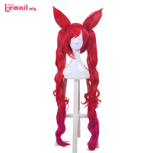 L-email wig Game Character LOL Magical Girl Jinx Cosplay Wigs 100cm Red Heat Resistant Synthetic Hair Perucas Cosplay Wig 2015 new hot sell lol new hero jinx 100cm long blue braid cosplay party hair wig free shipping
