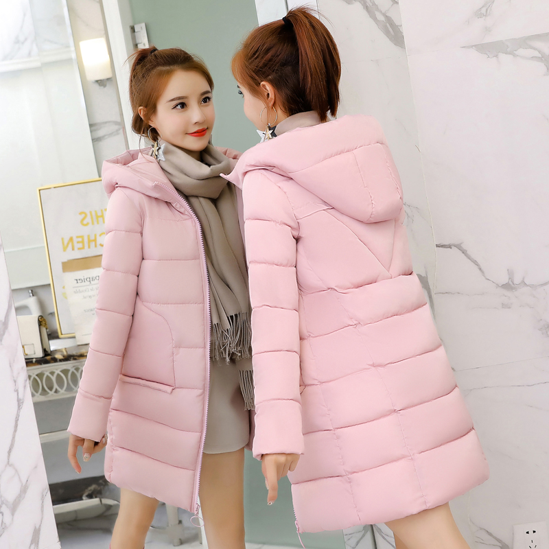 Winter   Parka   Women Jacket Hooded Outerwear Loose Down Cotton Thick Warm Long Coats Solid Casual Student Jacket Women Clothing