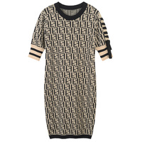 2018 Spring Summer New Fashions Women Sweater Dress O Neck Short Sleeve Knitted Dress Shoulder With