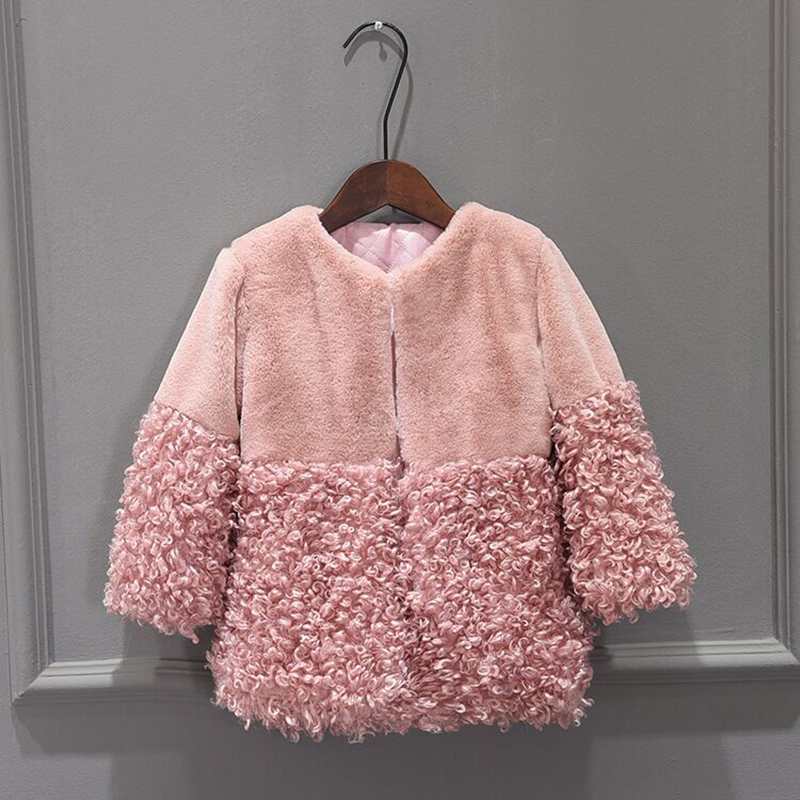 New Autumn Winter Girls Faux Fur Coat Kids Warm Coats Children Fur Coat For Baby Girls Jackets Princess Parkas Girl Fur Coat pearl beading textured faux fur coat