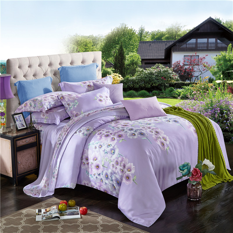 online kaufen gro handel lila blumen bettw sche aus china lila blumen bettw sche gro h ndler. Black Bedroom Furniture Sets. Home Design Ideas