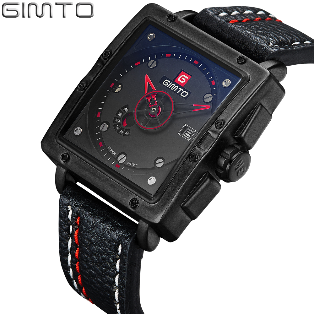 GIMTO Brand Square Men Watch Top Brand Luxury Male Leather Waterproof Sport Quartz Military Wrist Watch For Men Clock saat