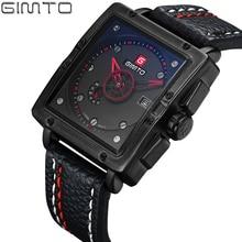 Gimto marca men square reloj superior de la marca de lujo de cuero masculino impermeable del cuarzo del deporte militar reloj de pulsera para hombres reloj saat