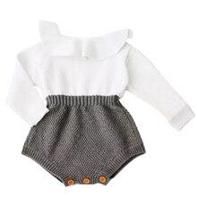 Одежда для новорожденных девочек; шерстяные комбинезоны; вязаные топы; комбинезон с длинными рукавами; теплая одежда для маленьких девочек