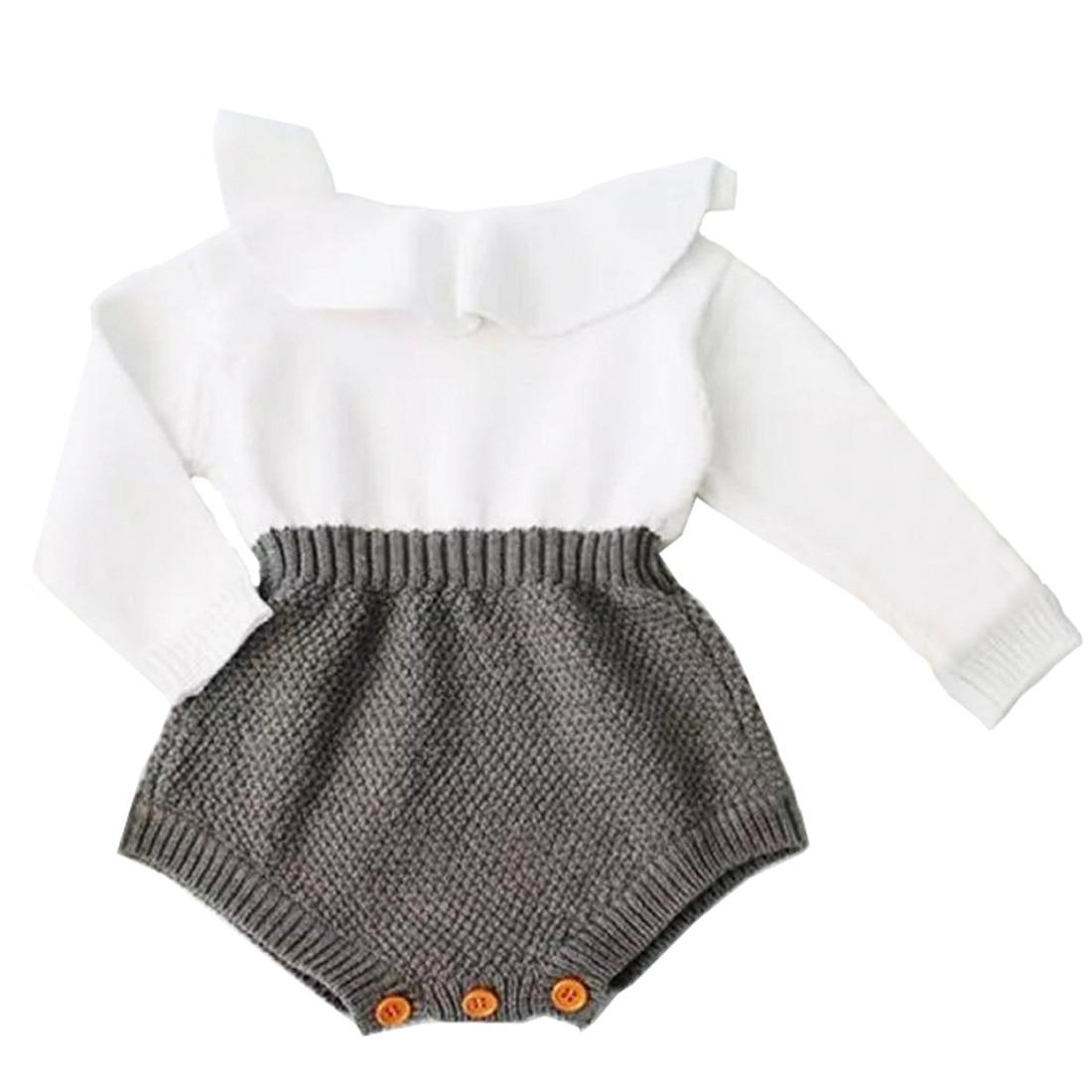 Recién Nacido bebé niña ropa mamelucos lana tejer Tops manga larga Romper trajes cálidos ropa bebé niñas