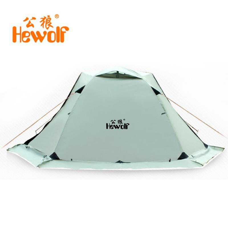 Hewolf Outdoor Camping Tent 1-2 Person Hiking Tourist Beach Tent Waterproof Double Layer Snow Skirt Winter Tents 2.65KG flytop high quality 3 person double layer rainproof windproof outdoor camping tent with snow skirt 210 50 180 50 115 cm