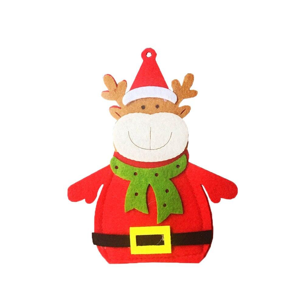 Шляпа Санты, олень, Рождество, Год, карманная вилка, нож, столовые приборы, держатель, сумка для дома, вечерние украшения стола, ужина, столовые приборы 62253 - Цвет: H18