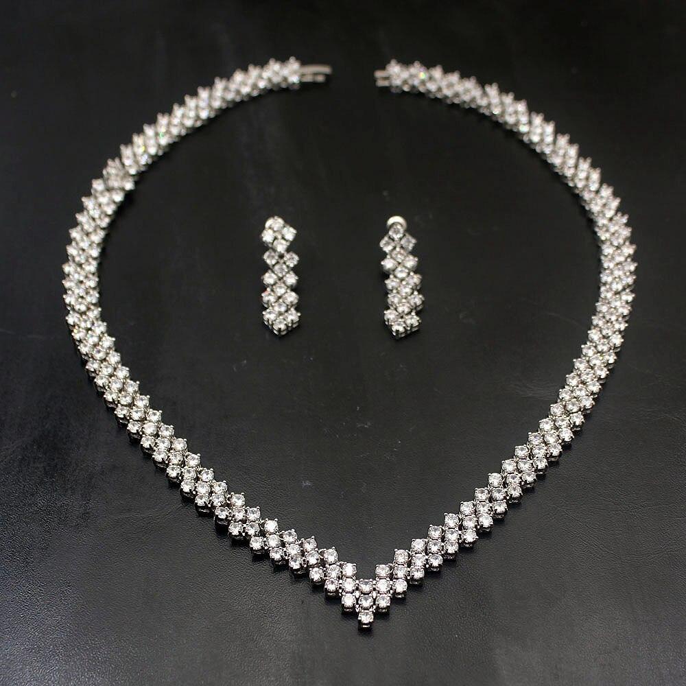 Beau brillant blanc Topaz925 en argent Sterling bijoux de mariage collier boucle d'oreille bijoux ensemble femmes cadeaux