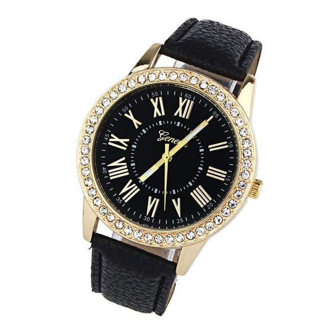 2018 Women Rhinestone White Leather Band Quartz Wrist Watch Women Watches Bracel