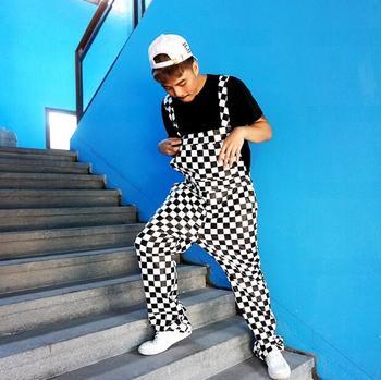 комбинезоны из искусственной кожи | Европейские и американские мужские хип-хоп уличные танцевальные клетчатые брюки для брюк нагрудник брюки мужские свободные модные повседн...