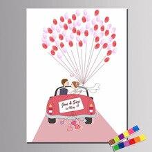 Пользовательское имя, дата свадебный автомобиль свадебный подарок DIY отпечаток пальцев Подпись гость книга для помолвки вечерние свадебные юбилей