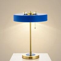 Постмодерн творческий металлические декоративные настольная лампа старинные тянуть веревку переключатель Nordic Утюг краска изучать G9 чтени