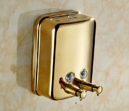 Free Shipping New Wall Mount Bathroom Golden Brass Soap Dispenser