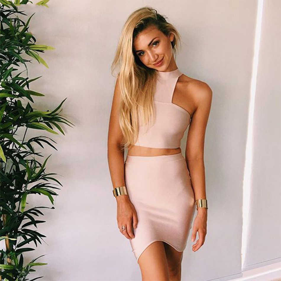 c83f7a95ba 2018 New Summer Bandage Dress Women Sleeveless O-Neck 2 Two Piece Set Off  Shoulder