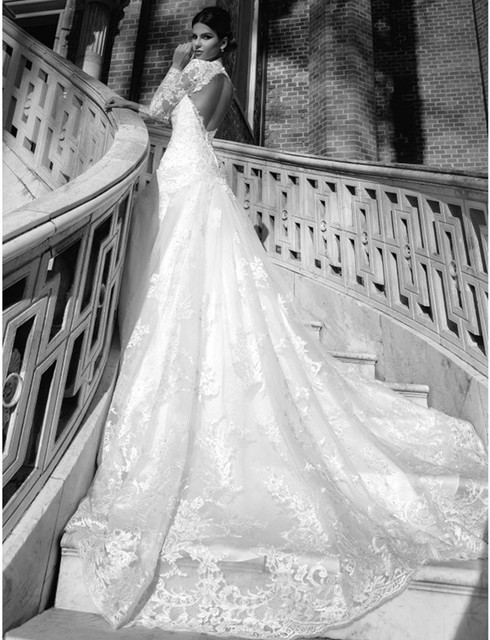 mermaid wedding dresses with long train with lace in the back