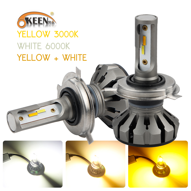 OKEEN <font><b>H4</b></font> Hi/Lo Car <font><b>LED</b></font> Headlight <font><b>Bulbs</b></font> H7 H1 60000K White 3000K <font><b>Yellow</b></font> 4300K Warm White 9005 <font><b>LED</b></font> Headlights CREE Chips Fog Lamp image