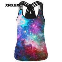 XAXBXC 001 Summer Sexy Girl Tank Tops Rainbow Cloud Galaxy Prints Rope Elastic Slim Fitness Women