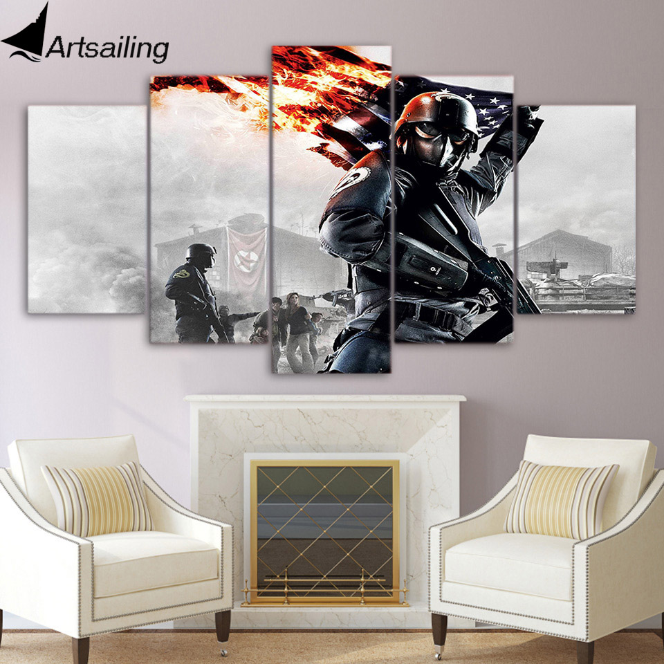 5 piece canvas painting armored soldier war game HD posters and prints canvas painting for living room free shipping XA-2017A