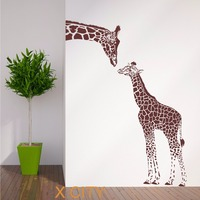GIRAFFE AND BABY African Animal Wall Sticker Vinyl Art Decal Window Decal Stencil Room Decor Adesivo
