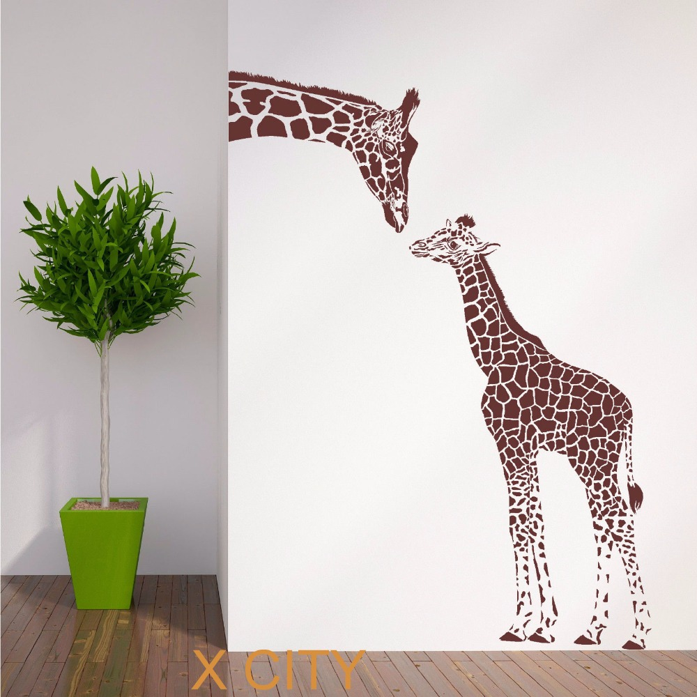 Giraffe and baby african animal wall sticker vinyl art for Animal wall mural