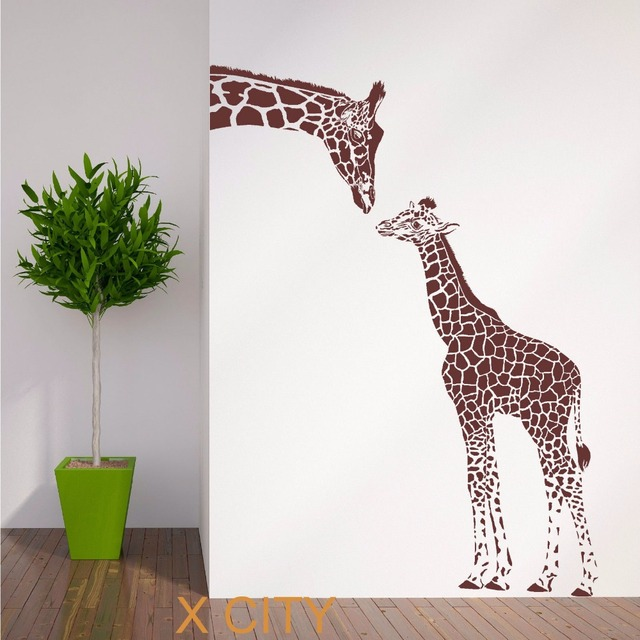 Giraffe And Baby African Animal Wall Sticker Vinyl Art