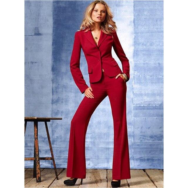 High Quality slim Suit Custom made Red Office Ladies Work Wear Women Pant Suits Formal Female Pants suits Jacket+Pants