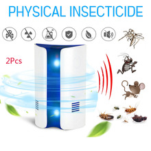2Pcs Electronic Ultrasonic Mosquito Repeller Mouse Repellent Killer Mouse Cockroach Trap Insect Rats Spiders Pest Control