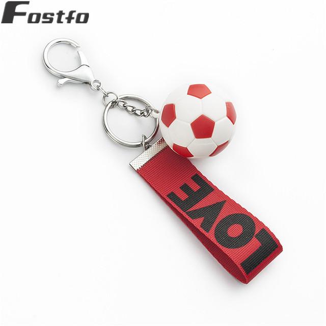Fostfo 2018 New Football Key Chains Nylon Rope Soccer Love Key Ring KeyChain Holder For Women Men Soccer Fans Souvenir