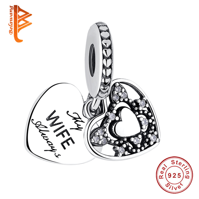 052ca1b27 Authentic 925 Sterling Silver My Wife Always Love Heart Beads Charms Fit  Pandora Bracelets Women Anniversary DIY Silver Jewelry