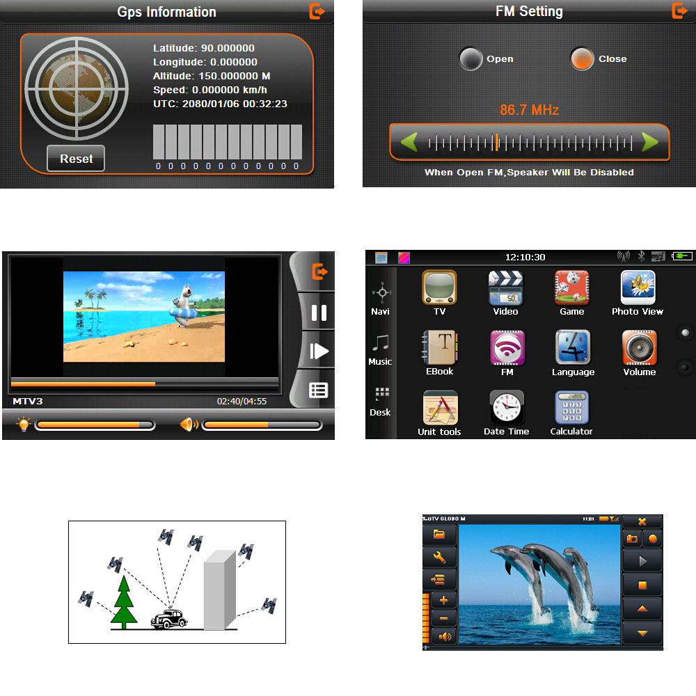 HD Touch Screen Portable GPS Navigator GB ROM MP Video Play - Gps with europe and us maps