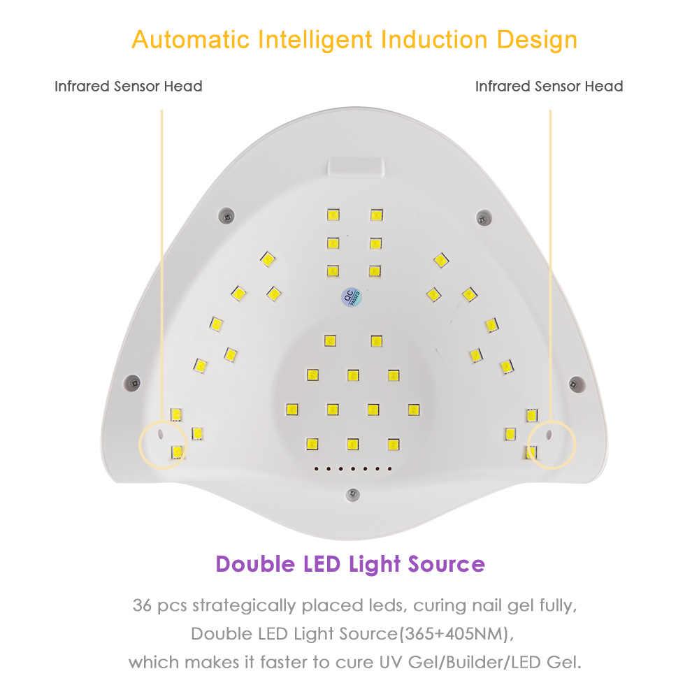 Sun X 5 Plus LED Lampu Kuku Pengering LED 18/36/45 LED UV Es Lampu Pengering untuk Pengeringan Gel cat Kuku Auto Sensor Timer Manikur Alat