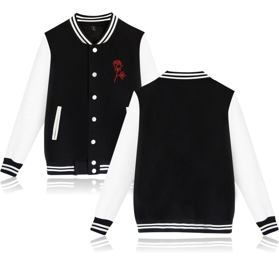 LUCKYFRIDAYF People Are Poison Baseball Jacket Women Autumn Long Sleeve Rose Print O-Neck Spring Casual Black Coat