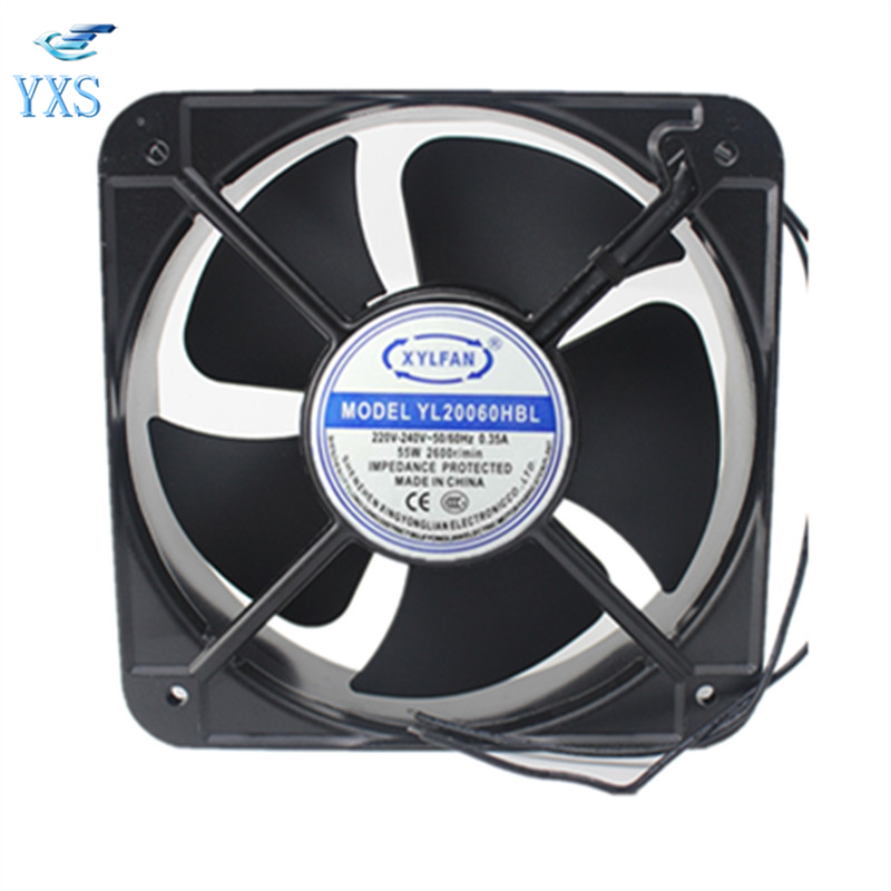 YL20060HBL AC 220V-240V 0.35A 50/60HZ 55W 2600RPM 2 Wires Double Ball Bearing AC Cooling Fan