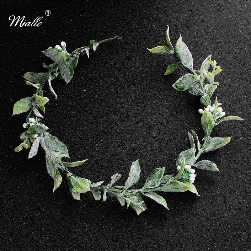 Корона и тиары Miallo с зелеными цветами для невесты и подружек невесты, свадебный головной убор с листьями и вьющимися волосами для невесты