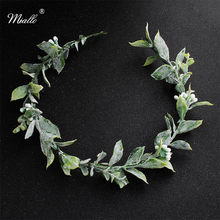 Miallo Green Flowers Crown and Tiaras Simulation Wedding Headpieces Bride Bridesmaids Leaves Hair Vine Bridal Headband for Women(China)
