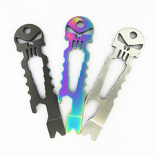 Titanium Bottle Opener Wrench EDC Skulls New Multi Tools Outdoor Stainless Steel Tactical Survival Pocket Tool Key Ring Pendant  dicoria glasses monkey titanium ti hand tools sets multi function screwdrivers bottle opener outdoor gear pocket edc tool