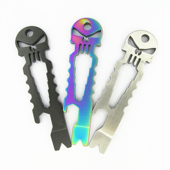 Titanium Bottle Opener Wrench EDC Skulls New Multi Tools Outdoor Stainless Steel Tactical Survival Pocket Tool Key Ring Pendant surieen outdoor tools steel pocket edc gear multi tool keychain keyring pry crowbar bottle opener wrench screwdriver gadget tool