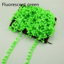60 ярдов/партия флуоресцентный зеленый помпон отделкой Помпоном Мяч ленты 10 мм атласная лента для ручной работы аксессуары для волос бахрома Вышивание