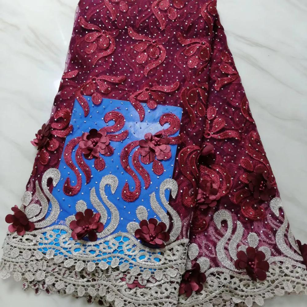 Madison Nieuwste Borduren Tulle Lace Stof Hoge Kwaliteit Nigeriaanse Mode Stof Met Kralen 3d Bloemen Franse kant Stoffen-in Kant van Huis & Tuin op  Groep 1