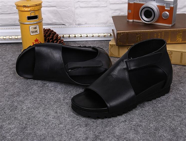 In Sandals Toe Leather Casual Open Nightclub Fashion Men's Rome From Shoes 88summer Black British Us176 vg7fmIbyY6