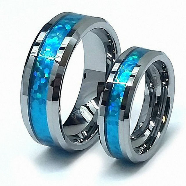 His Her S 8mm 6mm Tungsten Carbide Polished Beveled Edge Hawaiian Blue Opal Inlay Wedding