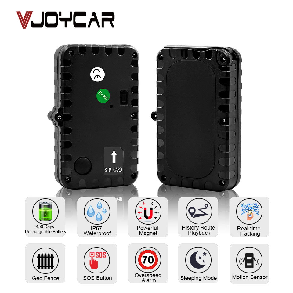 VJOYCAR TK12 GPS Tracker Car Locator 90 Days Standby Vehicle Tracker Locator Magnet Waterproof SOS Vibration Alarm Free Web APP tkstar gps tracker car tk905 5000mah 90 days standby 2g vehicle tracker gps locator waterproof magnet voice monitor free web app